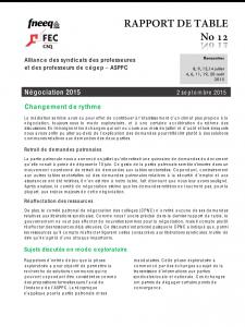 Rapport de table no 12